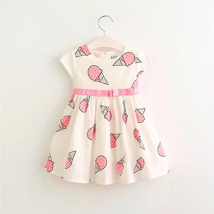 Cotton Dress with Ice Cream Cones print