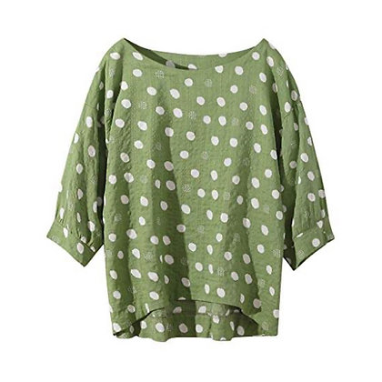 Full Sleeve Cotton Top with Polka Dots