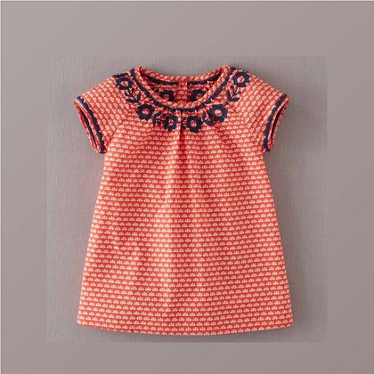 Short Sleeve Summer Printed Dress with Embroidery for Girls