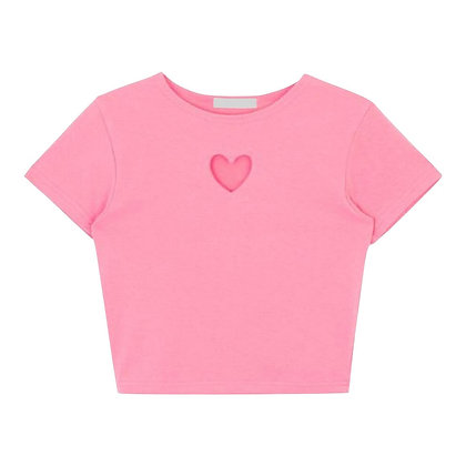 Pink Short Sleeve Top with Heart Cutout