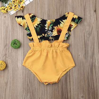 Printed Short Top and Shorts with Suspenders for babies