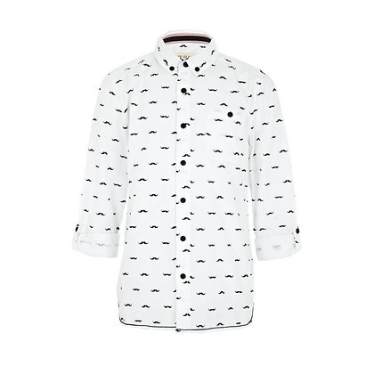 Long Shirt for Boys with Moustache Print