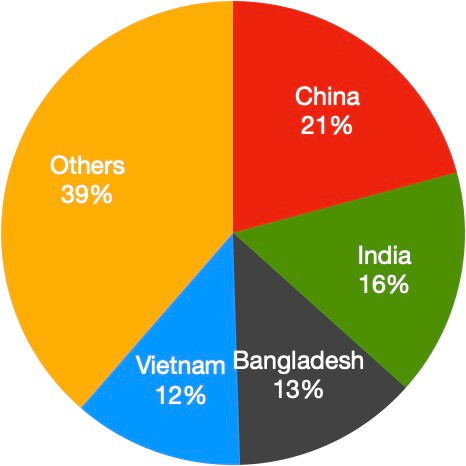 India's share in Garment exports worldwide