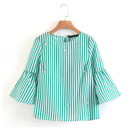 Full Sleeve Striped Top with Flared Sleeves