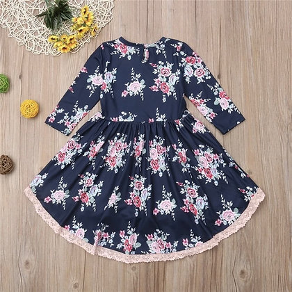 Cotton Floral Printed Dress with Lace