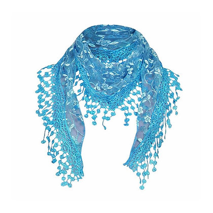 Pretty Scarf with Embroidery and Lace
