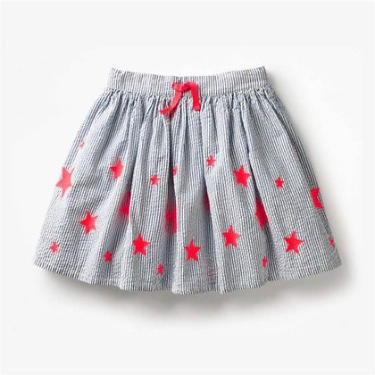 Short Ribbed Cotton Skirt with Stars for Girls