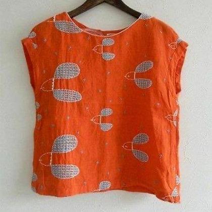 Mega Sleeves Cotton Top with Applique