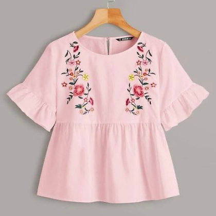 Embroidered Cotton Top With Short Sleeves