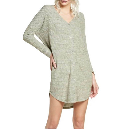 Nightwear Knitted Cotton Long Shirt