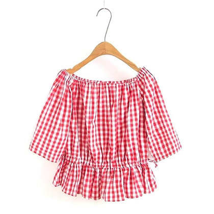 Pretty Red Chequed Top