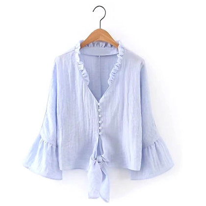 100% Organic Cotton Top with Flared Sleeves