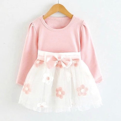 Plain Pink Top and Applique Skirt Combo Dress for Girls