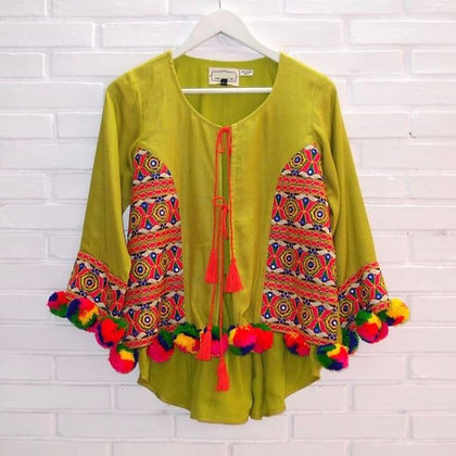 Indian Style Embroidered Top with Tassels and Pom Poms