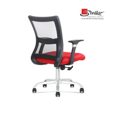 Revolving office chairs with adequate lumbar support.