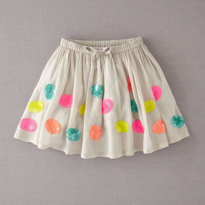 Short Cotton Skirt with Round Sequence patch for Girls