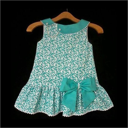 Cotton Dress Green with Pearls on collar & Large Bow