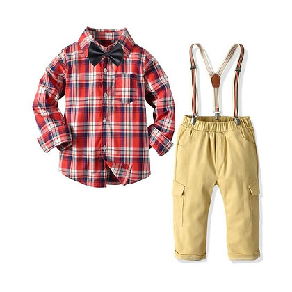 Boys Party Dress Shirt and Pants with Suspenders