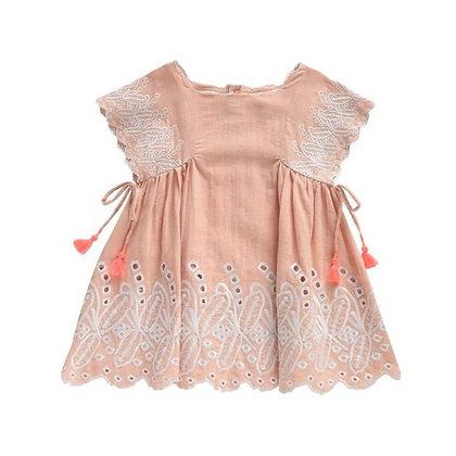 Schiffly Baby Pink  Short Summer Dress