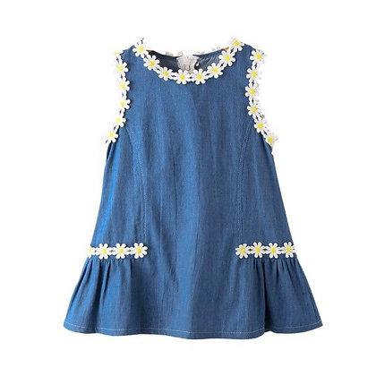 Denim sleeveless dress with pretty lace