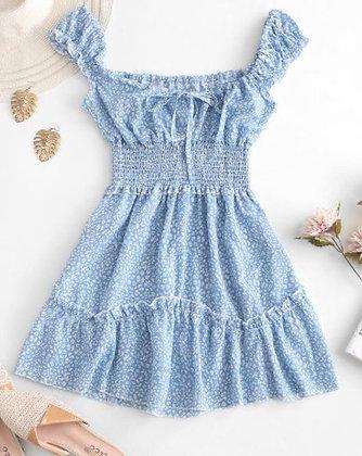 Short Summer Dress with Shoulder Frills