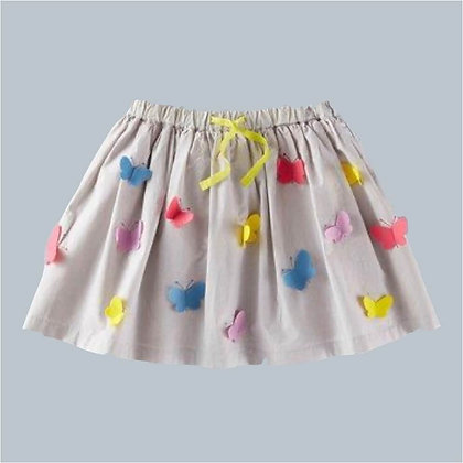 Short Cotton Skirt with Butterflies for Girls
