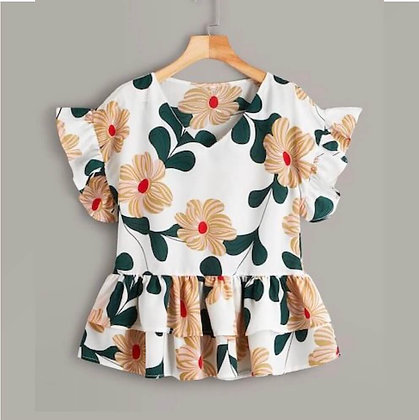 Printed Short Sleeve Summer Dress