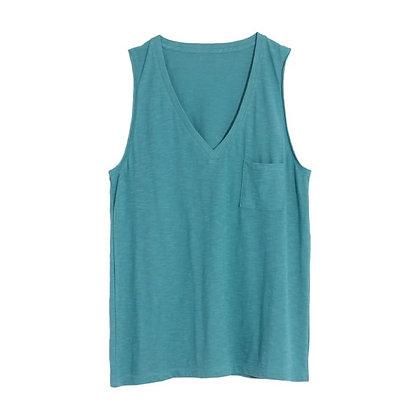 Vest with V Neck and Square Pocket