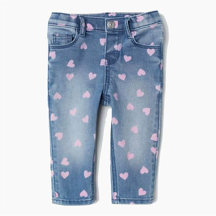 Denim trouser for Girls with Pink Hearts Print