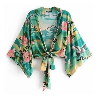 Printed Kimono Sleeve Style Top