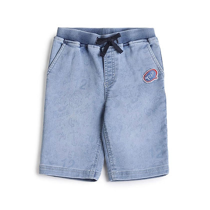 Denim Capri with Self Print