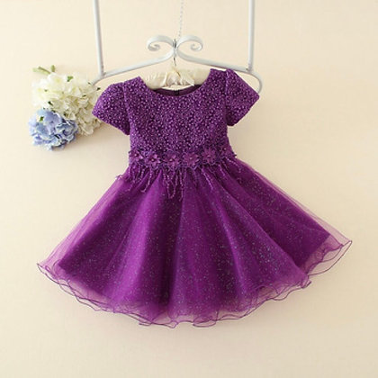 Purple Net Party Dress For Girls