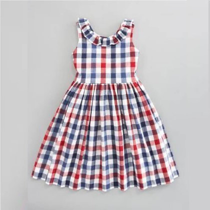 Sleeveless Checks Cotton Summer Dress for Girls