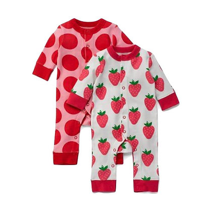 Pure Cotton Strawberry & Polka Dots Printed Romper for Babies (Set of 2)