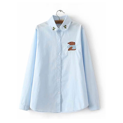Long Shirt with Embroidery on Collar and Chest