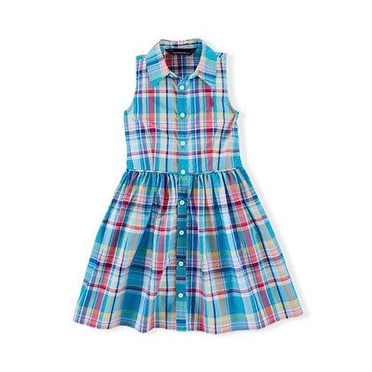 Sleeveless Checks Cotton Summer Dress for Girls