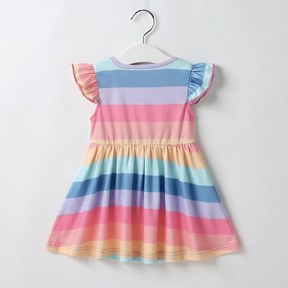 Organic cotton knit colorful striped dress for Girls