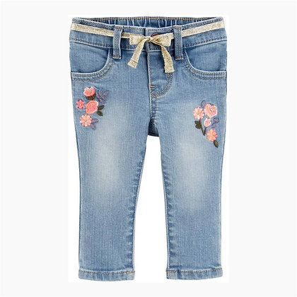 Denim trouser for Girls with Floral Embroidery
