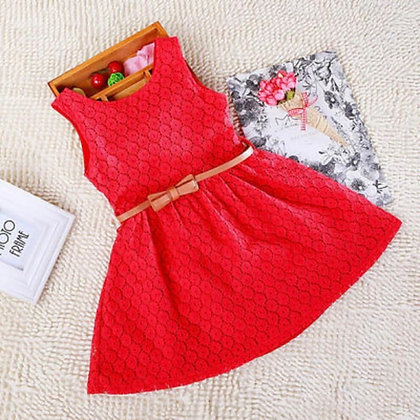 Red Burnout Net Party Dress For Girls