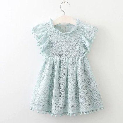 Lace Green Dres with small pom poms on sleeves