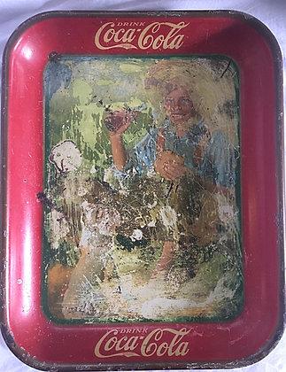 1931 Barefoot Boy or Boy w/Dog Coca Cola Tray