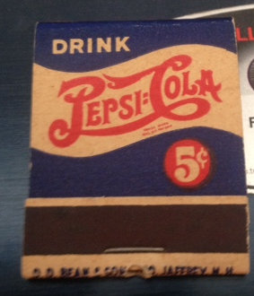 Pepsi Cola Matches 1940's Full Book  Mint
