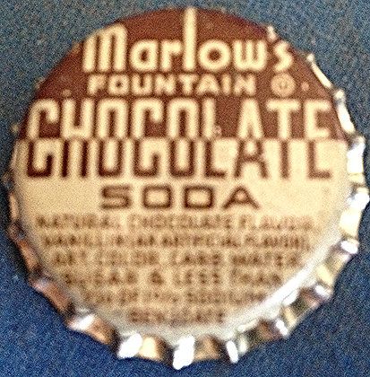 Marlow's Chocolate Soda Bottle Cap for sale.  www.nostalgia-tymes.com
