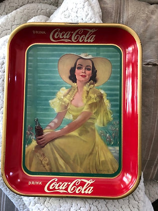 1938 Original Girl in Yellow Dress Coca Cola Serving Tray
