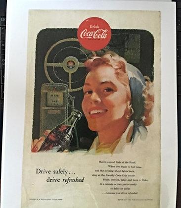 1953 Coca Cola Ad, Laminated, Very Nice 4 Framing