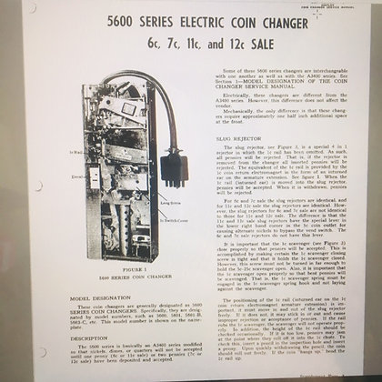 National Rejector Series 5600 Electric Coin Changer