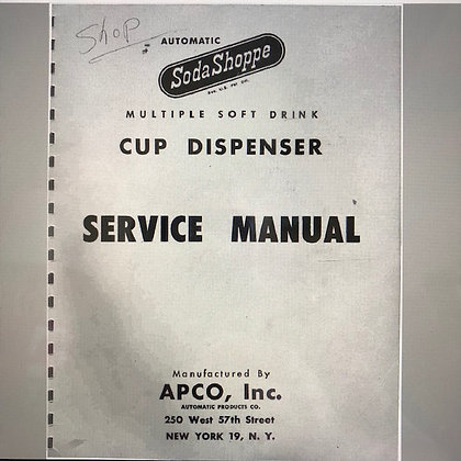Soda Shoppe Cup Dispenser Service Manual in PDF format