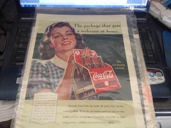 Original Large Coca Cola Ad 1942 Mint Condition