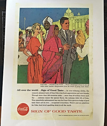 1957 Coca Cola Ad, Laminated, Very Nice 4 Framing