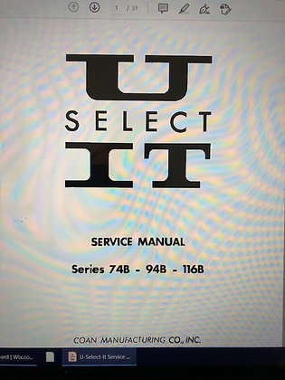 U Select It Candy Manual 74b, 94b, 116b